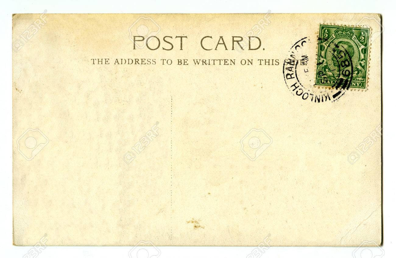a vintage postcard over a plain white background stock photo 31483664
