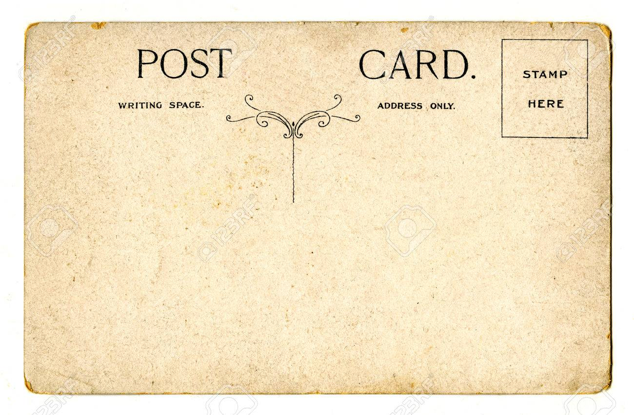 a vintage postcard over a plain white background stock photo 31499946