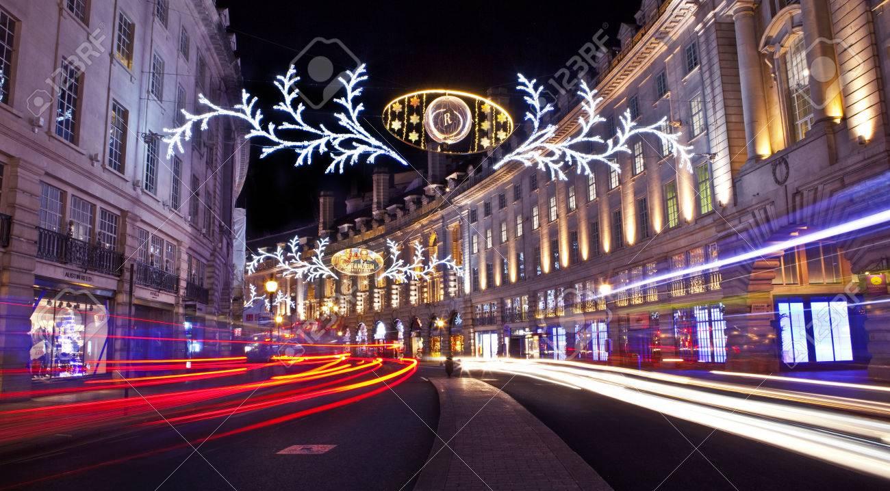 The beautiful Regent Street Christmas Lights in London. - 34381383