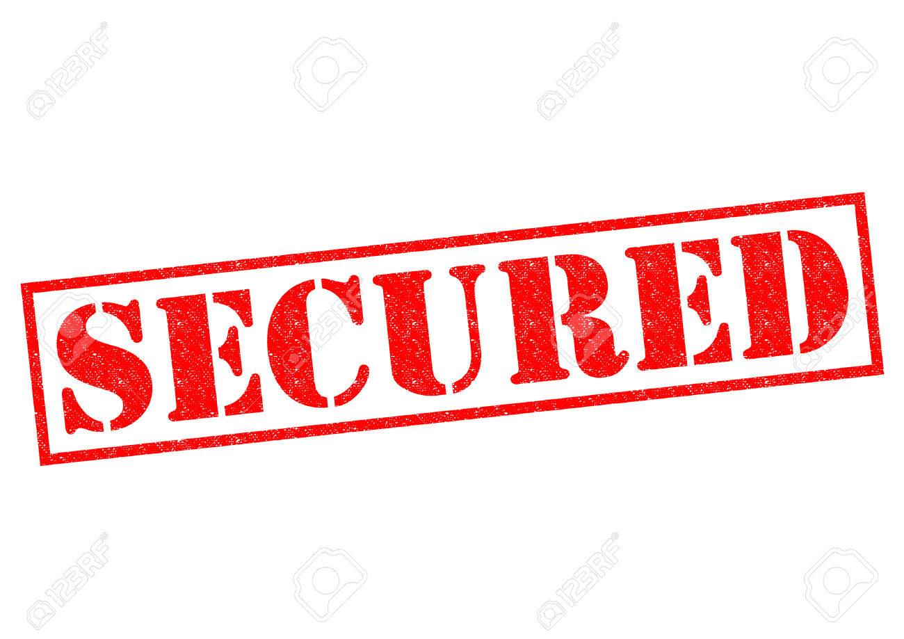 secured red rubber stamp over a white background stock photo