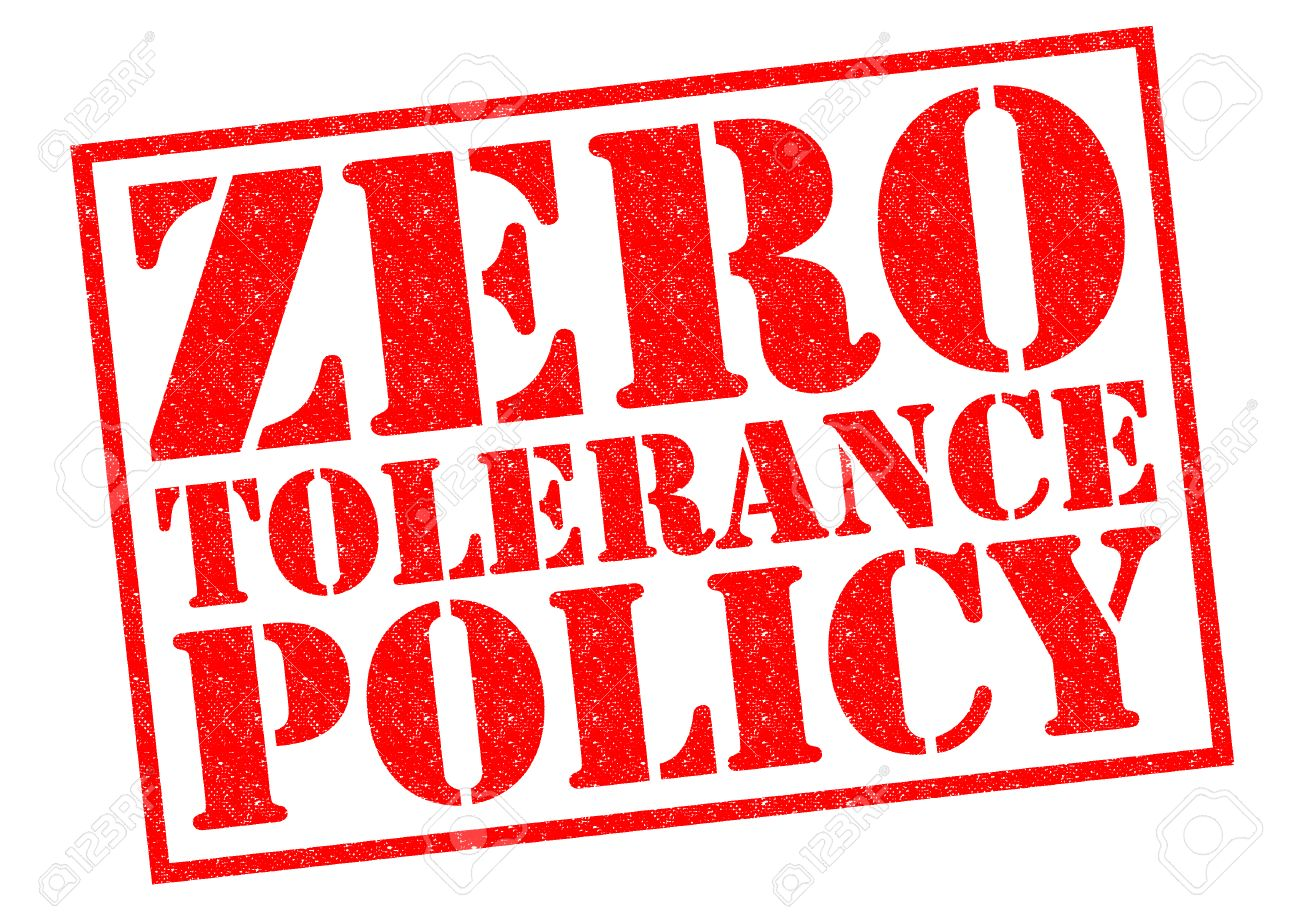 ZERO TOLERANCE POLICY red Rubber Stamp over a white background. - 35915696