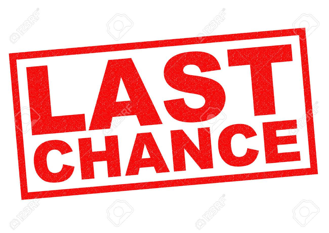 LAST CHANCE red Rubber Stamp over a white background. - 36611877