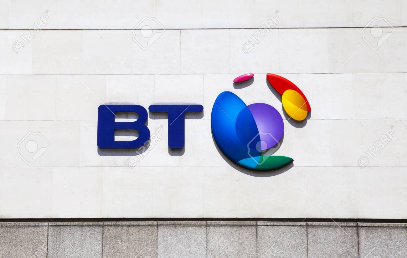 LONDON, UK - JUNE 18TH 2015: The BT Logo located on their headquarters in Newgate Street, London on 18th June 2015. - 41528468