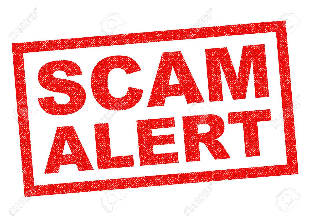 SCAM ALERT red Rubber Stamp over a white background. - 43078439