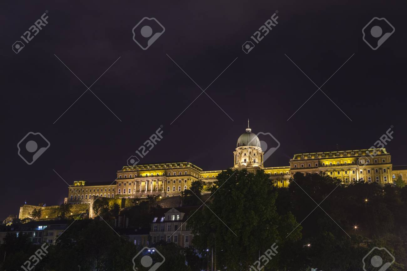 The Magnificent Buda Castle At Night In Budapest Hungary Stock