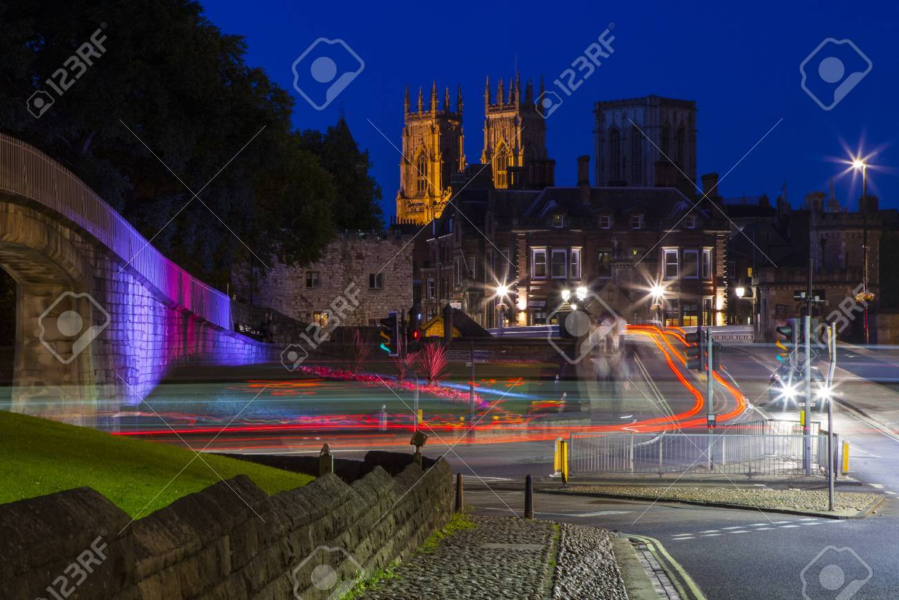 A night-time view of York Minster in the city of York, England. - 45288869