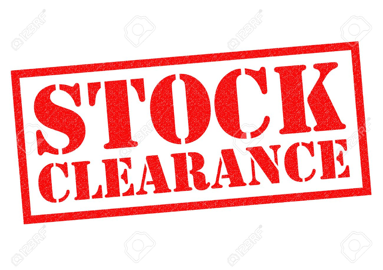 STOCK CLEARANCE red Rubber Stamp over a white background. - 48804224