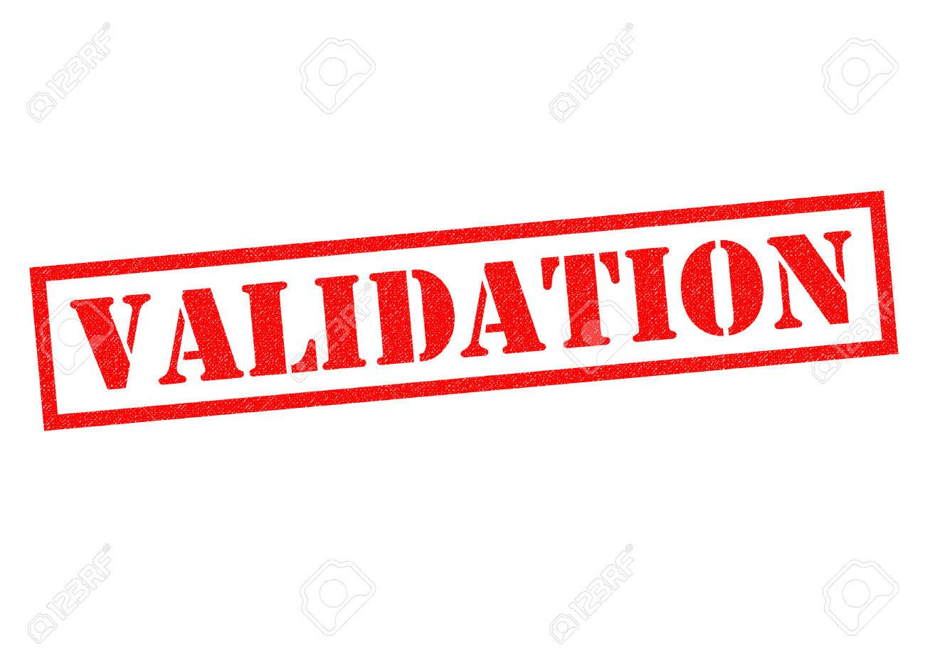 VALIDATION Red Rubber Stamp Over A White Background Stock Photo