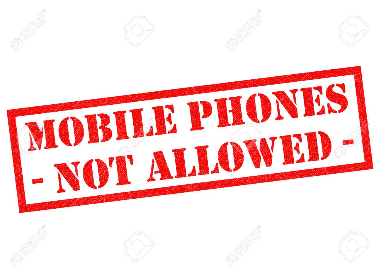 MOBILE PHONES NOT ALLOWED Red Rubber Stamp Over A White Background Stock Photo