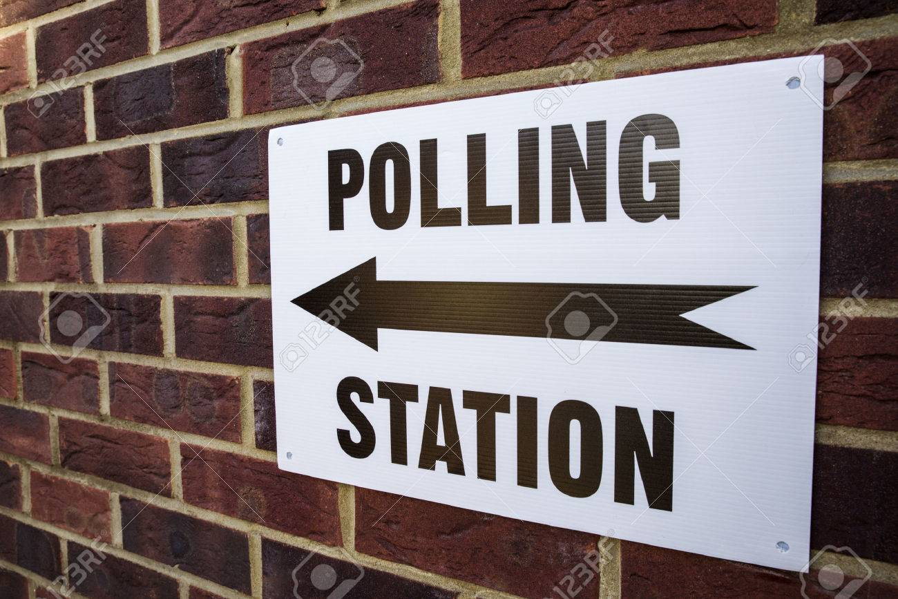 A sign outside a Polling Station on election day in the UK. - 59241890