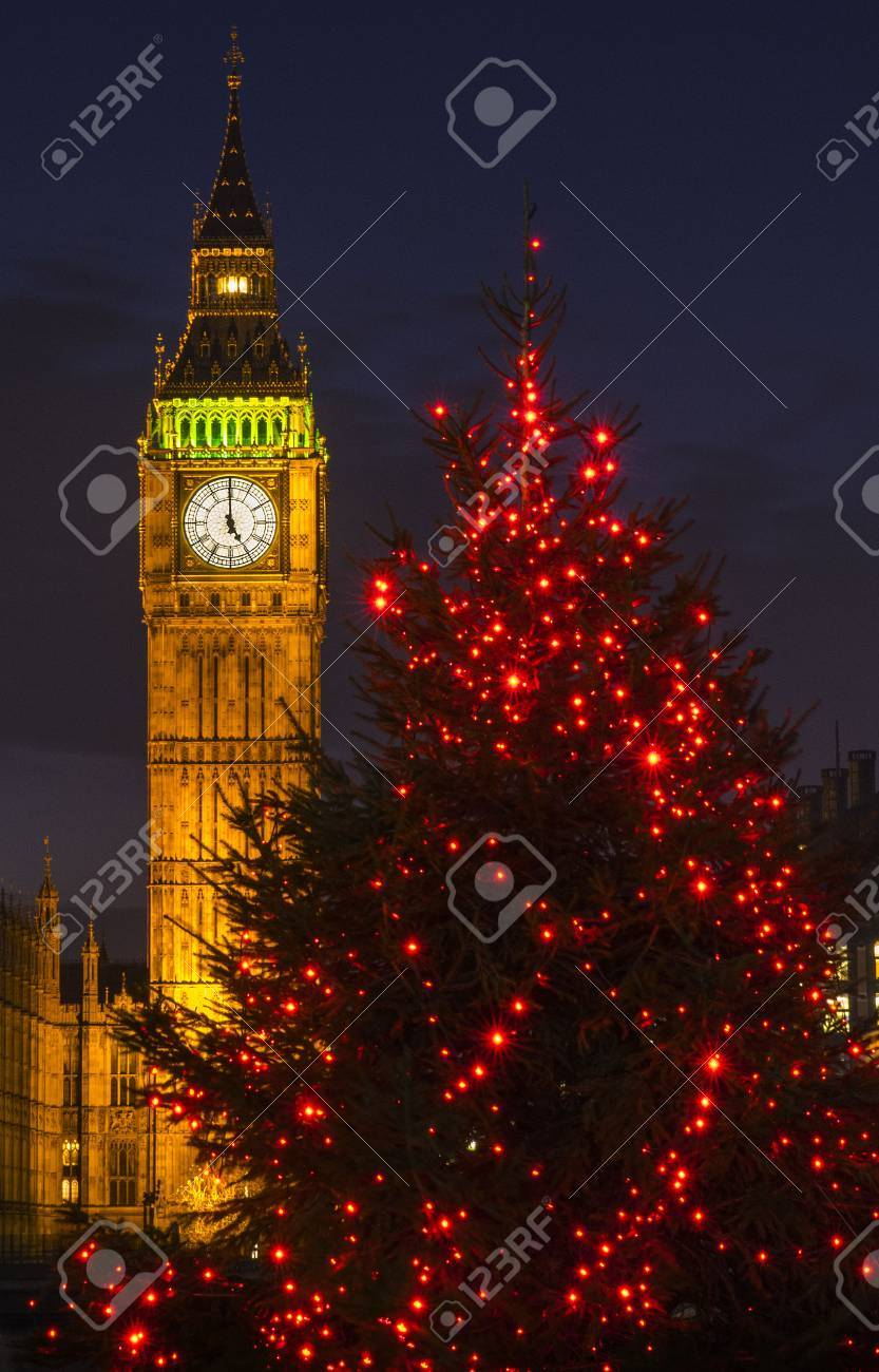 A view of a beautiful illuminated Christmas tree with the Elizabeth Tower of the Houses of Parliament in the background, London. - 69453659