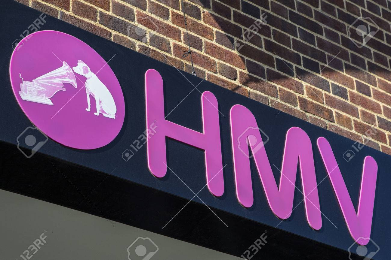 Chichester Uk April 29th 2017 The Hmv Logo Above The Entrance