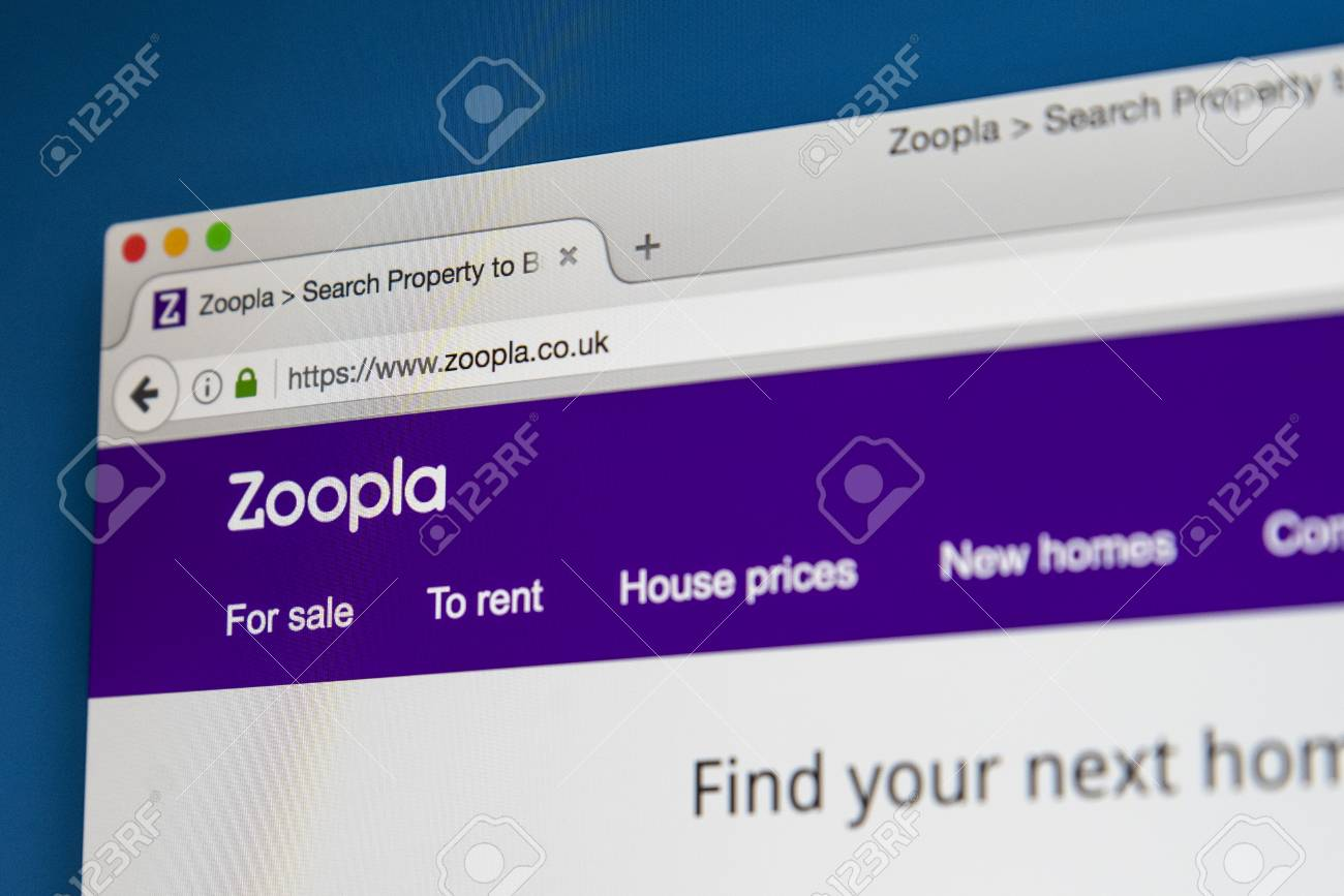 LONDON, UK - AUGUST 7TH 2017: The homepage of Zoopla - the property