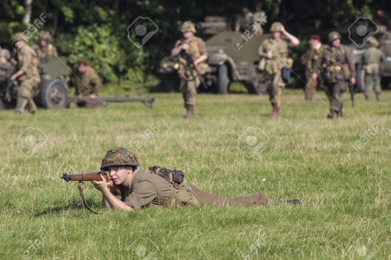 KENT, UK - AUGUST 28TH 2017: Actor posing as a British soldier