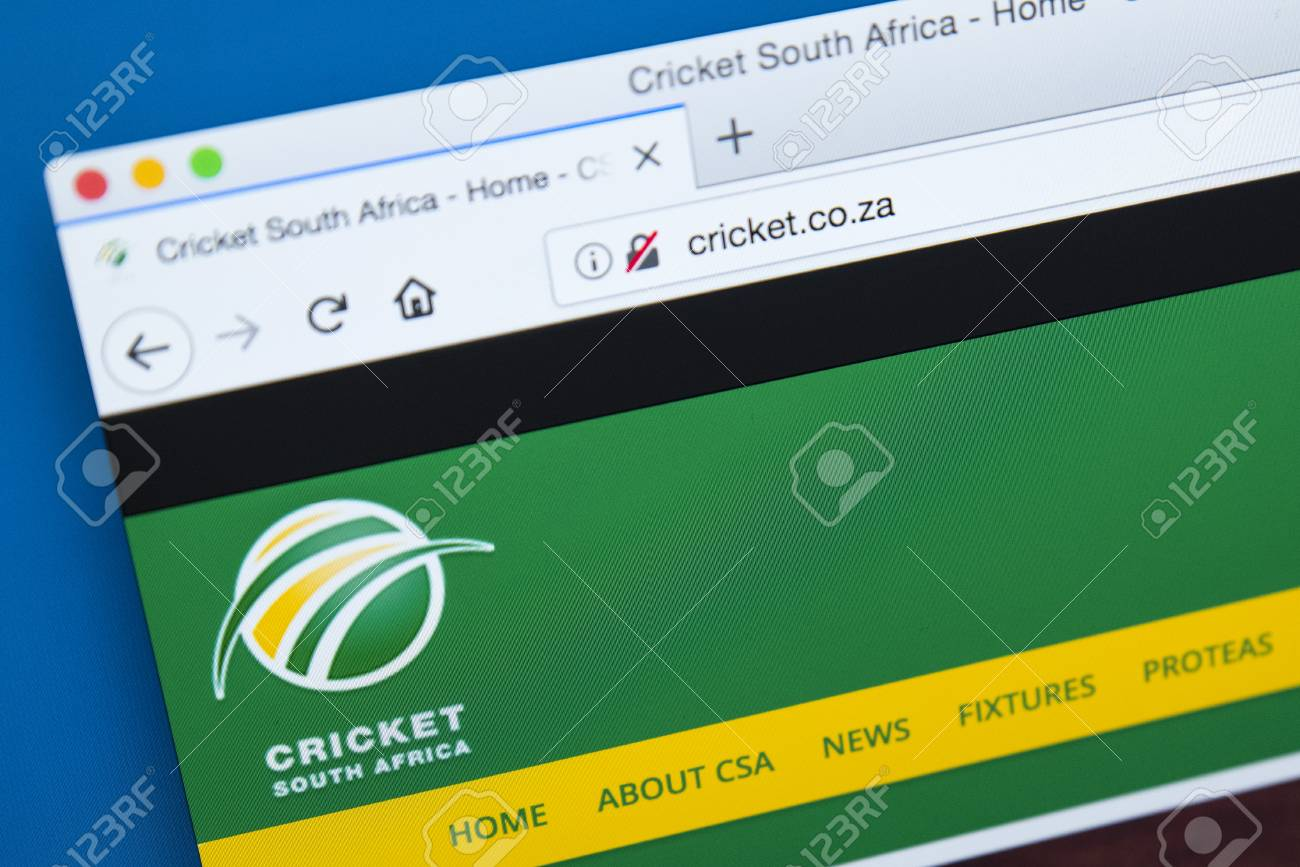 LONDON, UK - DECEMBER 4TH 2017: The homepage of the official website for Cricket South Africa - the governing body for professional and amateur cricket in South Africa, on 4th December 2017. - 93497419