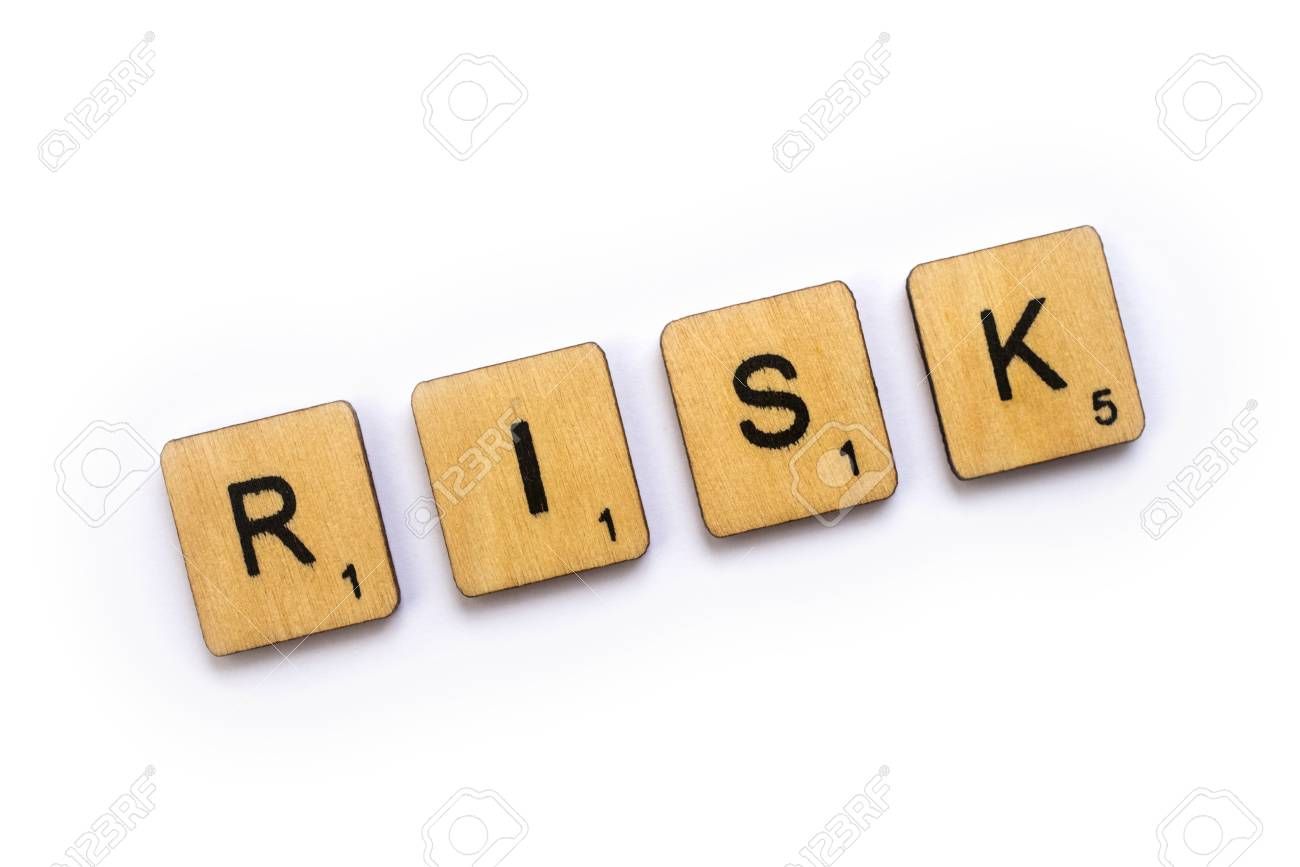 london uk july 5th 2018 the word risk spelt with wooden stock