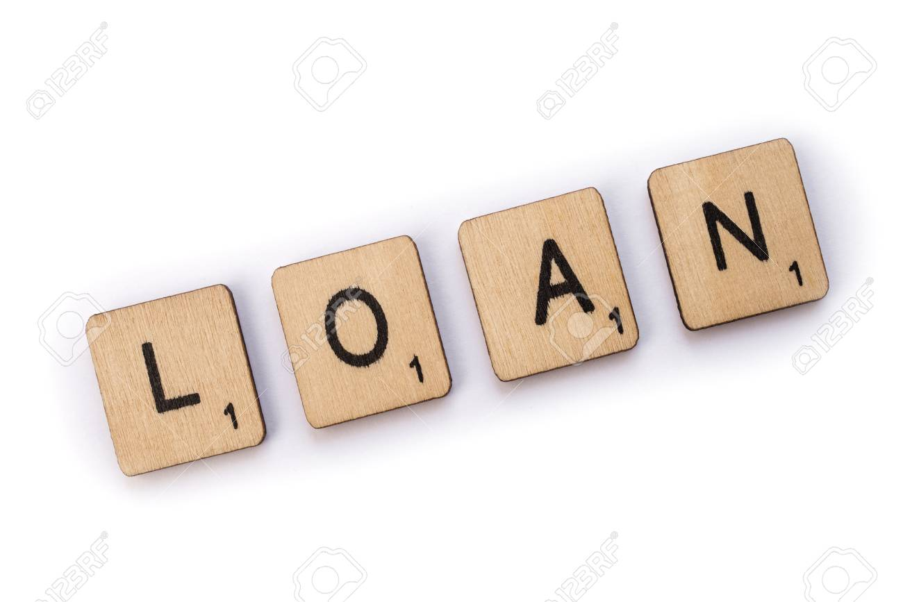 london uk july 5th 2018 the word loan spelt with wooden letter