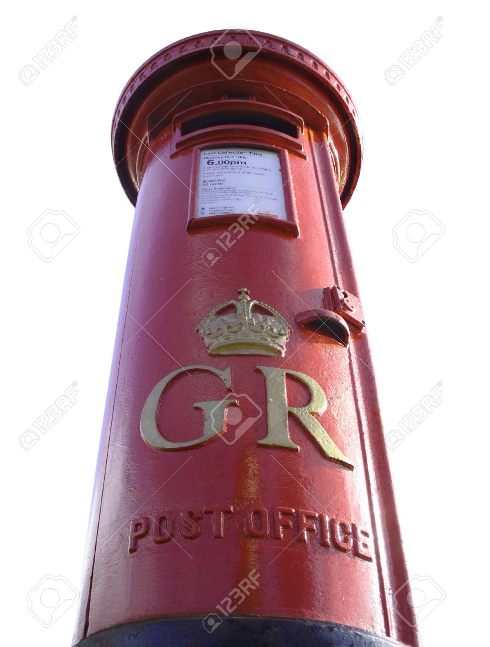 Cutout and upward view of a red British postbox Stock Photo - 782594