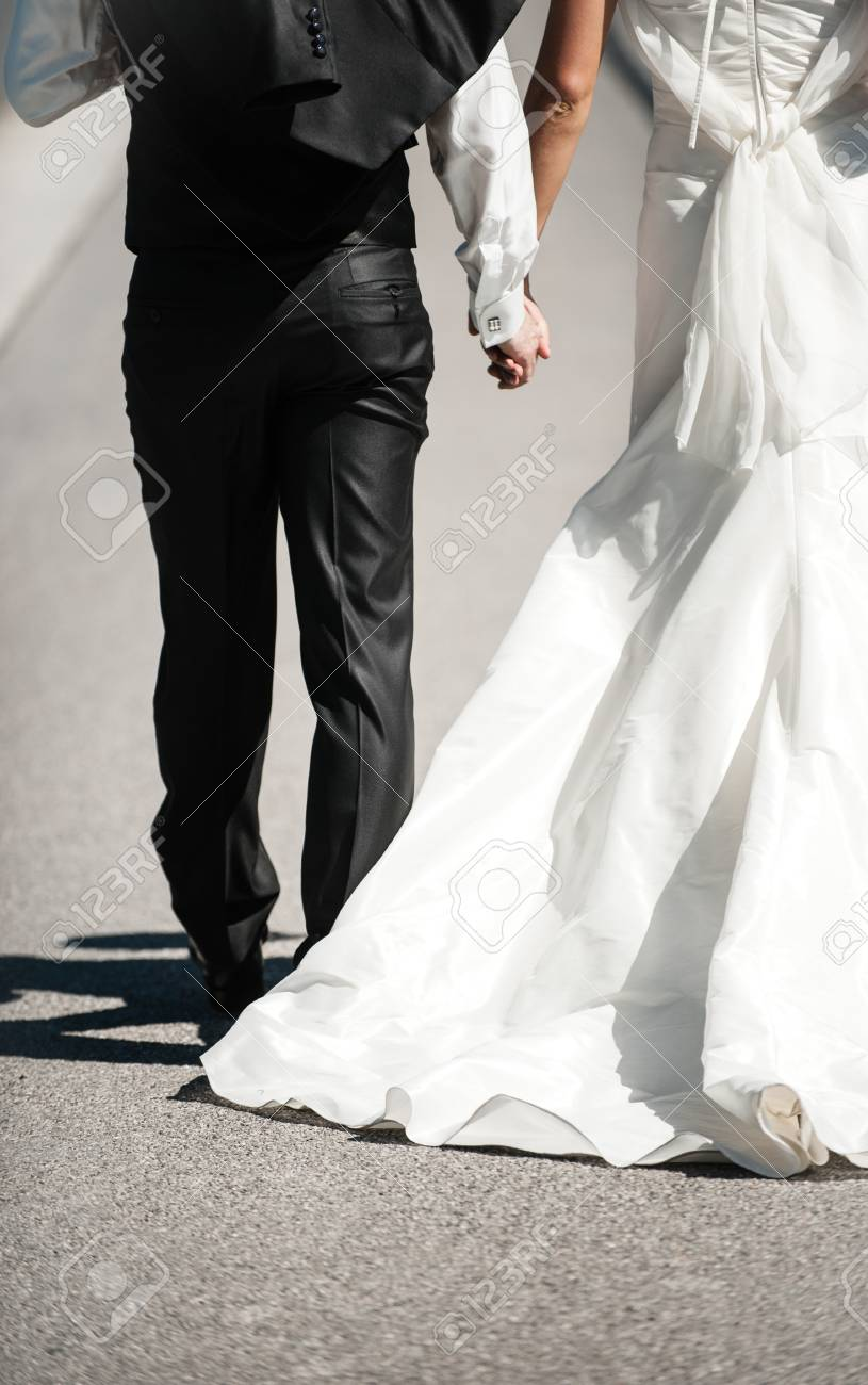Getting married dressed in black and white Stock Photo - 60782797