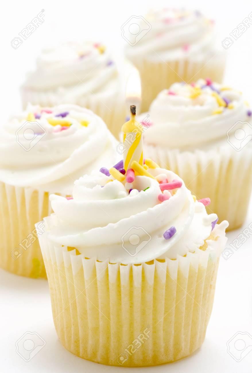 Dieses Bild Zeigt Ein Geburtstag Cupcake Lizenzfreie Fotos Bilder