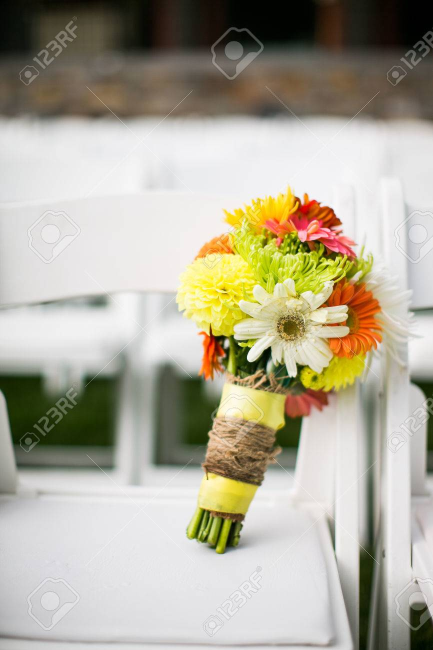 wedding bouquet with chrysanthemums, dahlias, and gerbera flowers, Beautiful flower