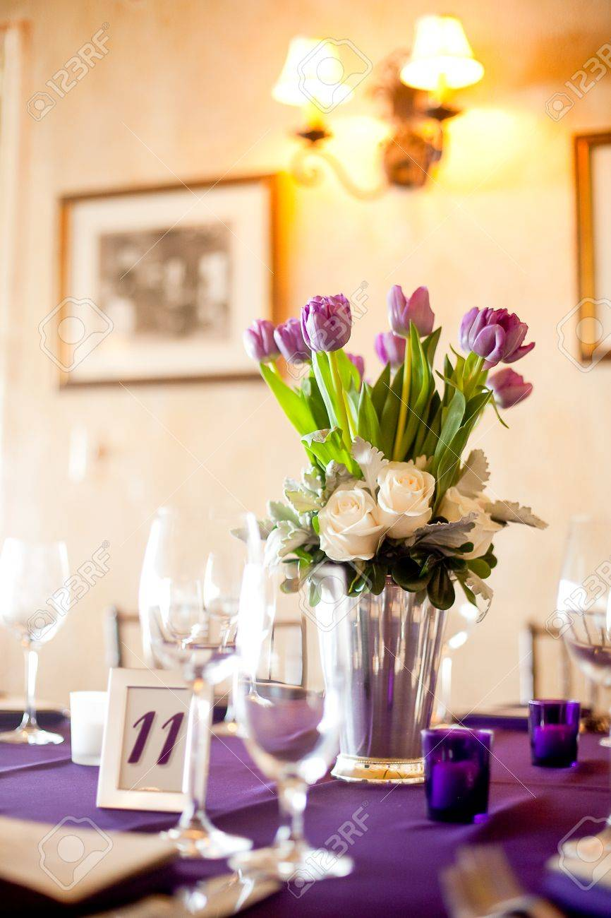 Sensational Purple Tulips Centerpiece At A Formal Dinner Download Free Architecture Designs Estepponolmadebymaigaardcom