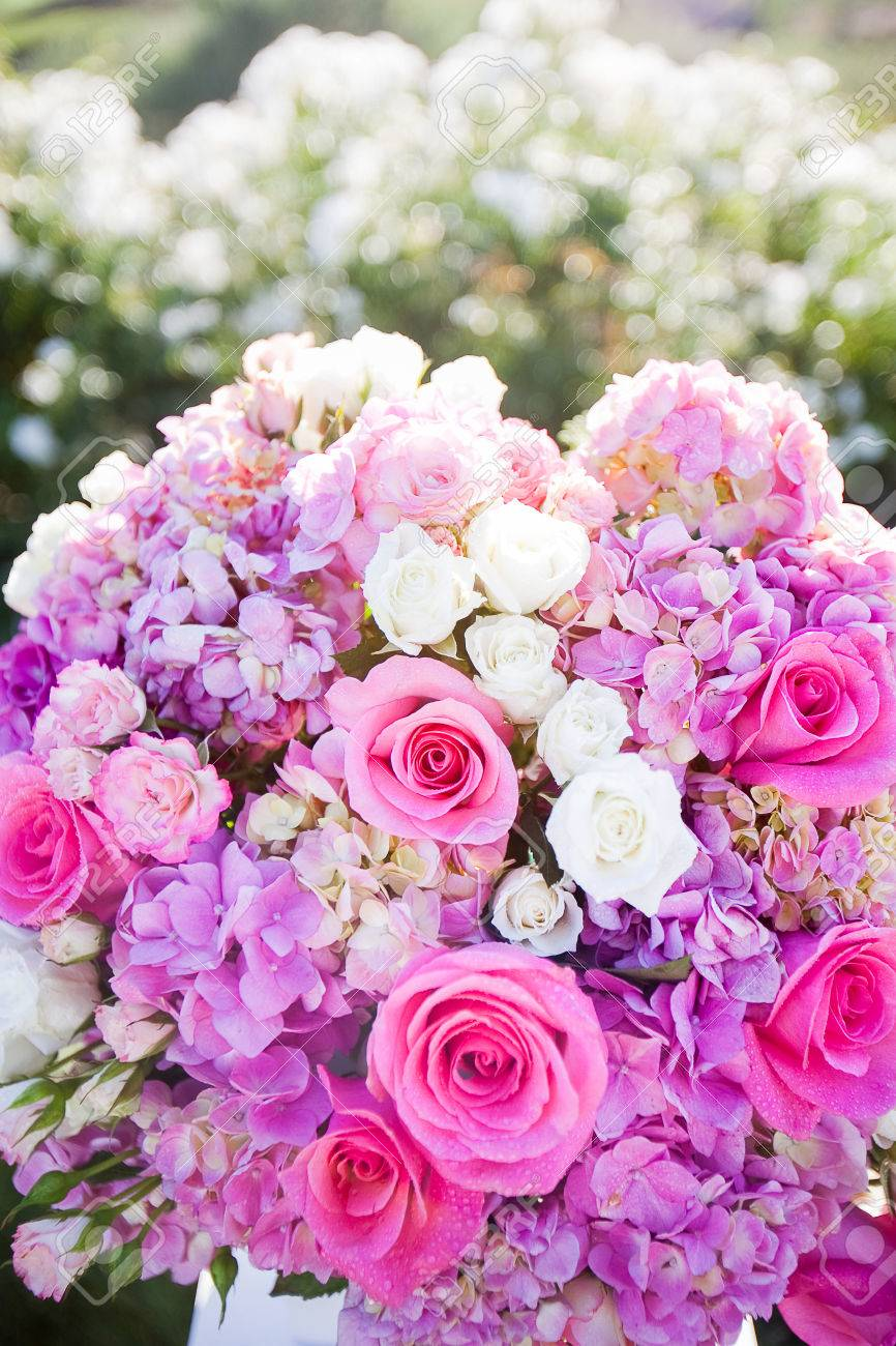 Arrangement Of Flowers Consisting Of Pink Roses White Spray Stock
