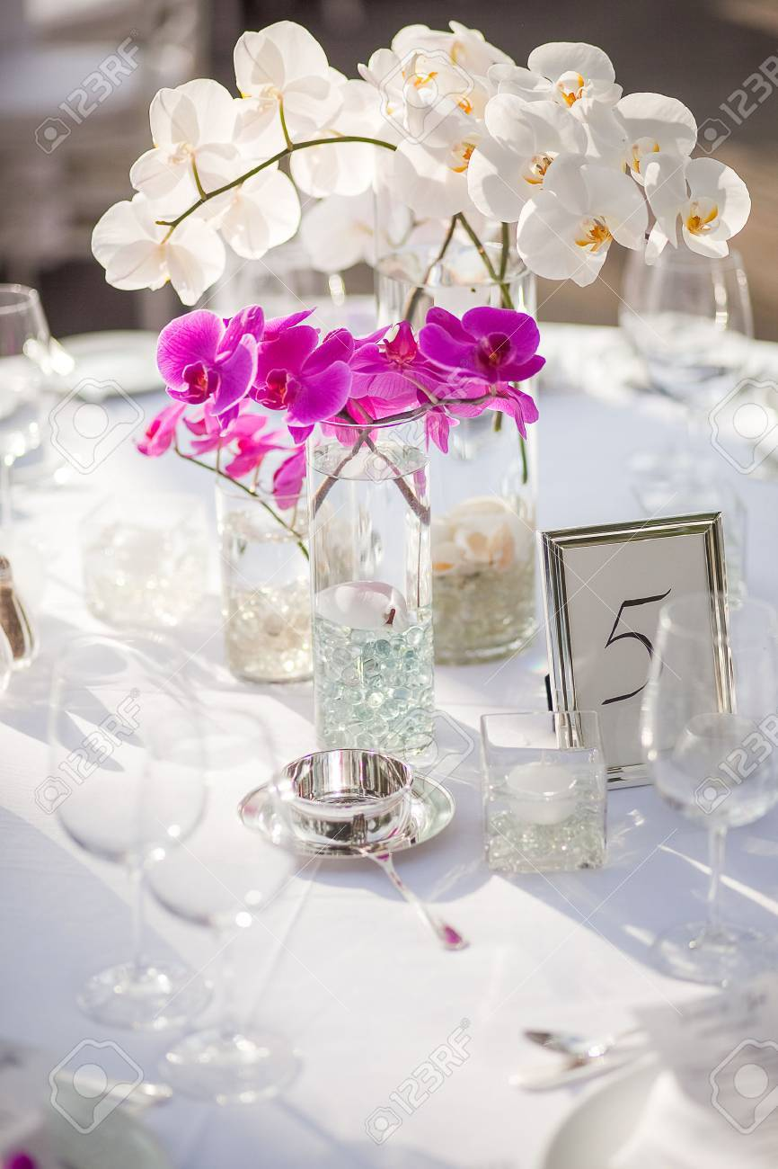 Orchid Centerpiece At An Outdoor Event Or Wedding Reception Stock Photo Picture And Royalty Free Image Image 44306213