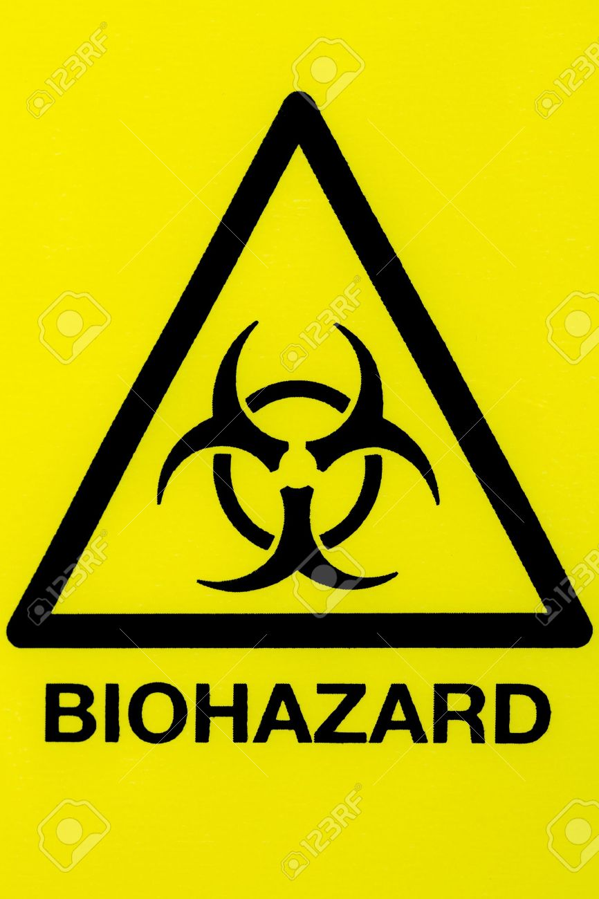 Close Up Of A Biohazard Symbol In A Warning Triangle Black On