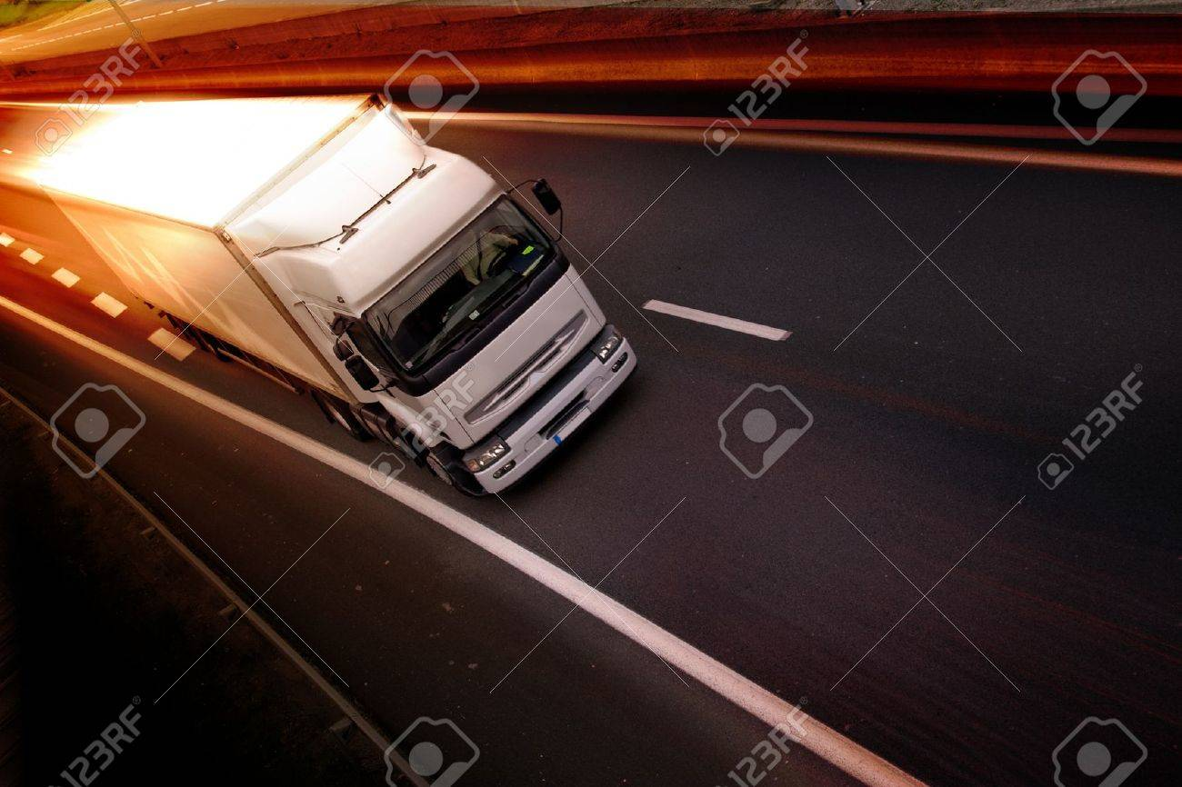 A white truck on highway - delivery concept Stock Photo - 11545836