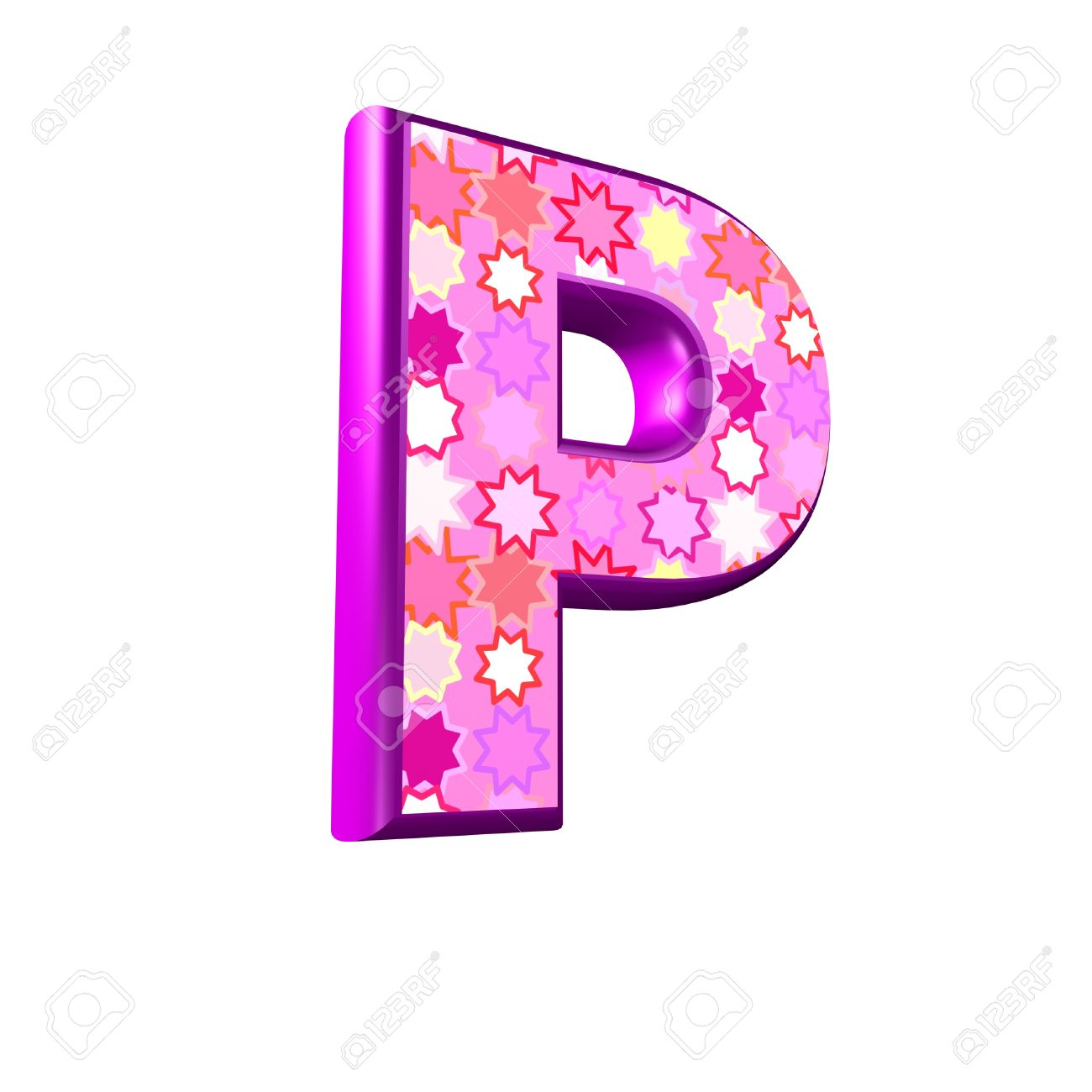 3d Pink Letter Isolated On A White Background P Stock Photo