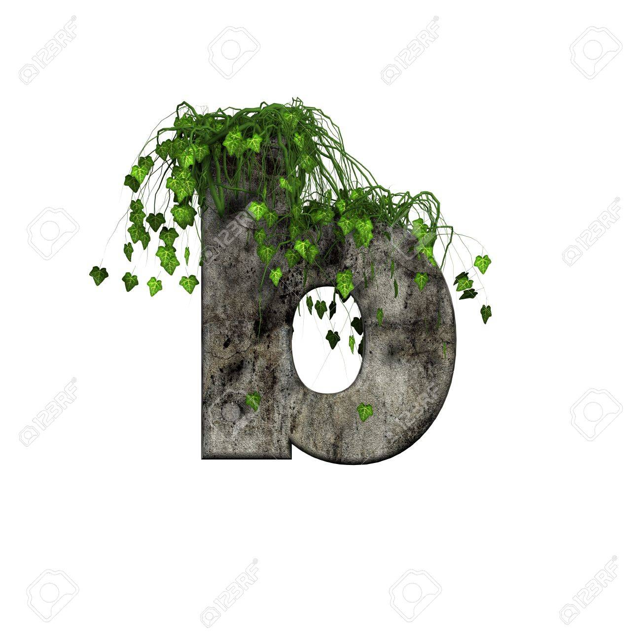 green ivy on 3d stone letter - b Stock Photo - 11994724