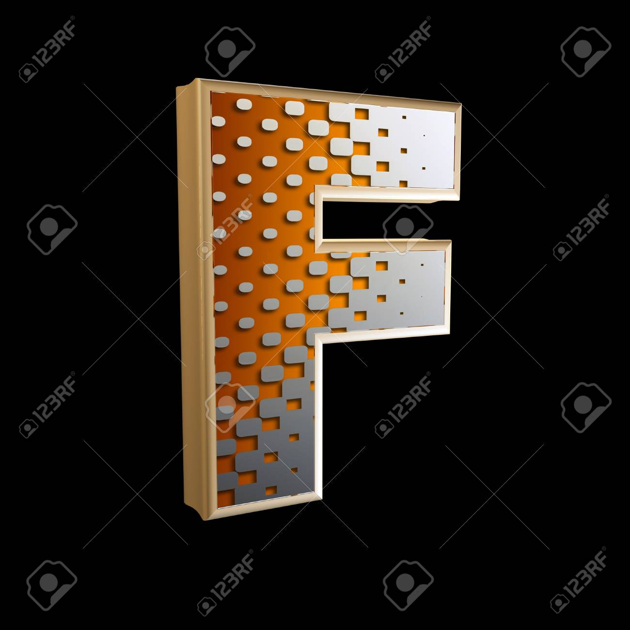 3d abstract letter with modern halftone pattern - F Stock Photo - 15212853