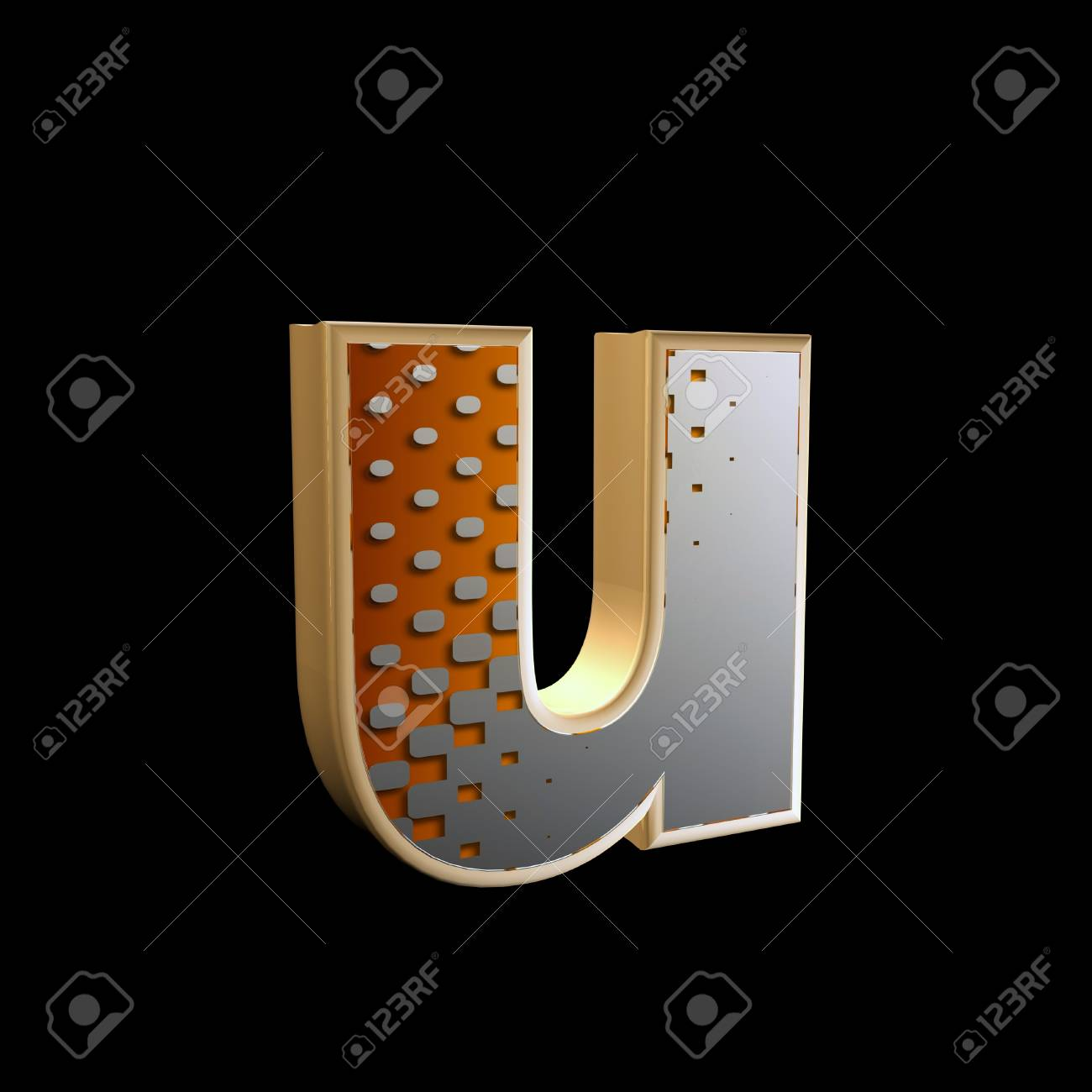 abstract 3d letter with halftone texture - u Stock Photo - 15212840