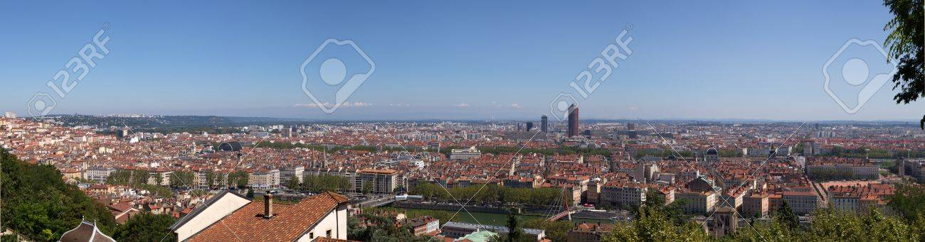 At the confluence of the Saone and Rhone rivers, Lyon city Stock Photo - 18722449