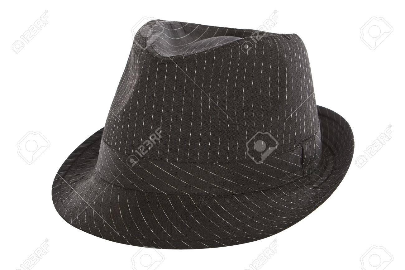 4faa2435c black pinstripe fedora hat isolated on white background