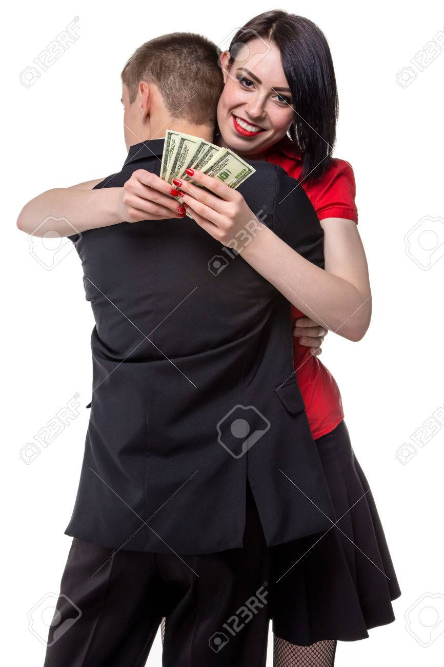 man hugging happy woman with money isolated photo of people stock