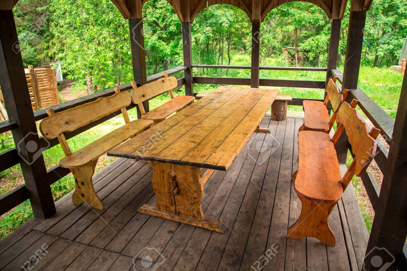 Amazing Wooden Table And Benches Of Gazebo Ibusinesslaw Wood Chair Design Ideas Ibusinesslaworg
