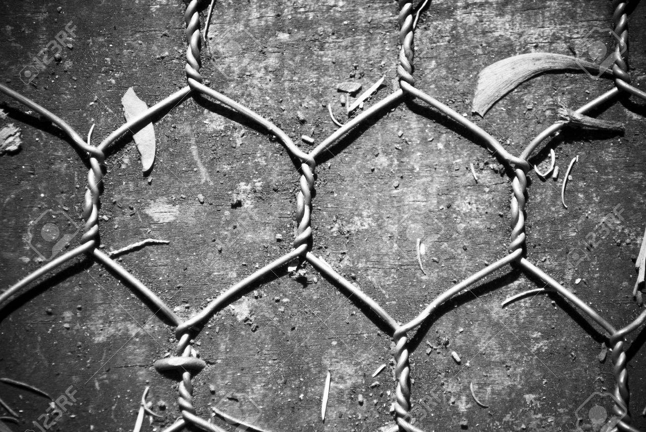 Chicken Wire On Wooden Background In Black And White Stock Photo ...