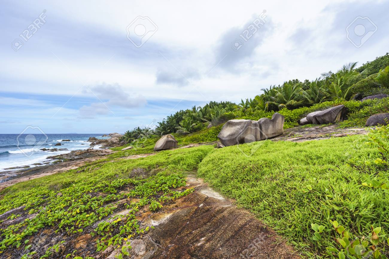 Banque Dimages Hiking The Rough And Wild Rocky Coastline At Anse Songe La Digue Seychelles Lush Green Grass Palm Trees Granite Rocks And The Indian