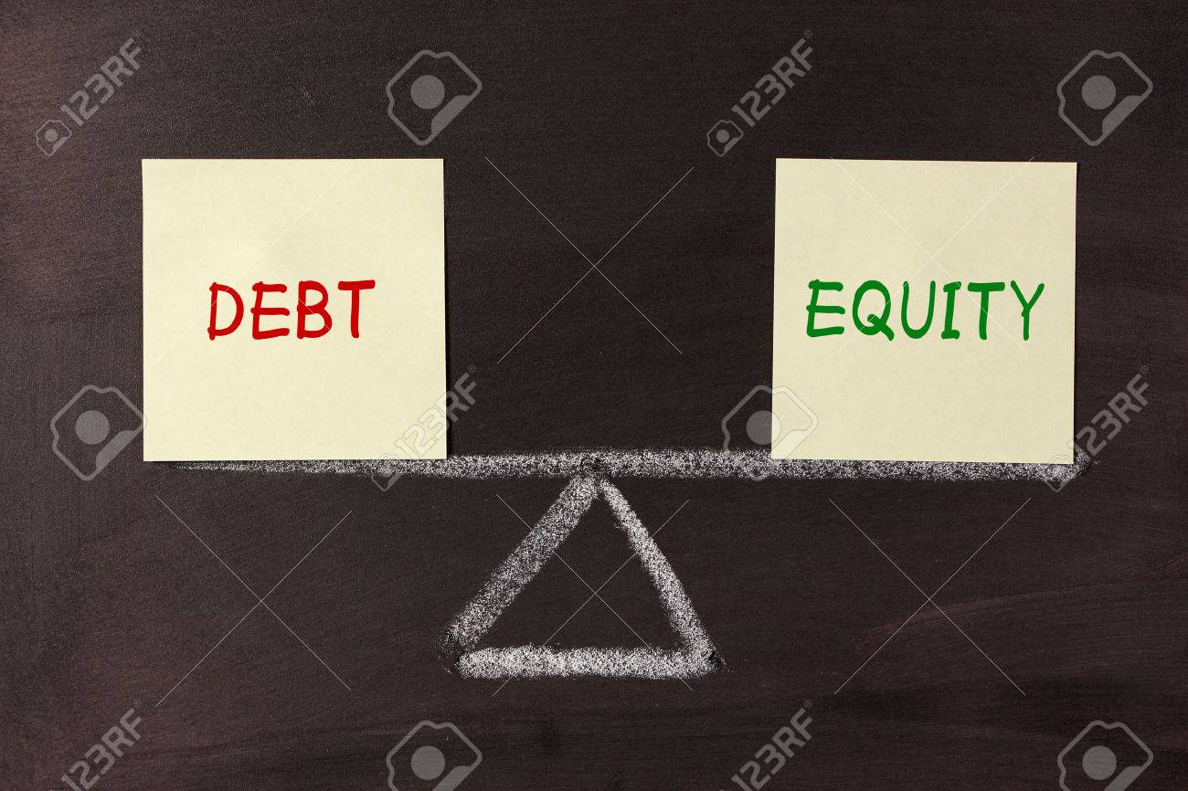 Debt and Equity Balance concept on blackboard. - 37139004