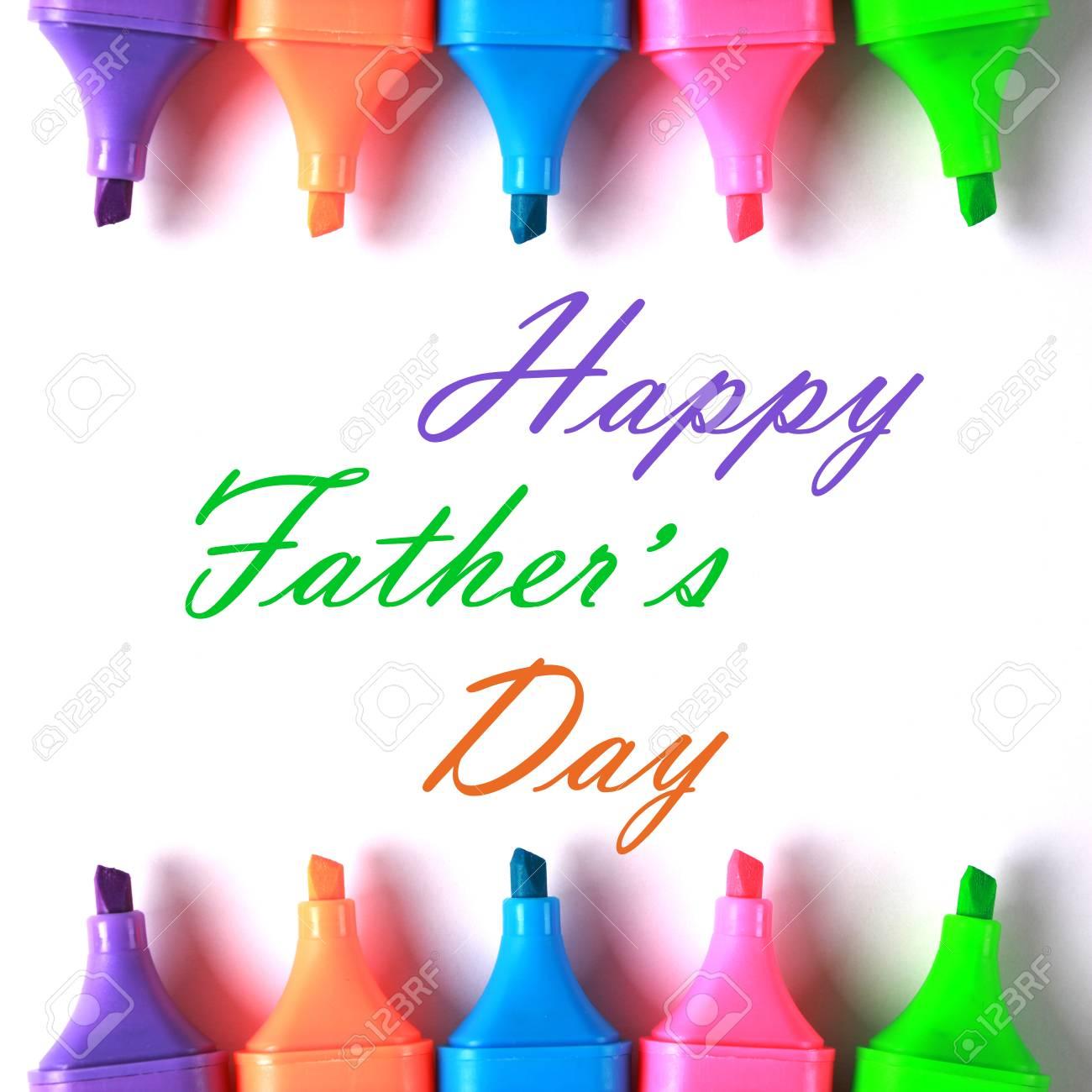 Feliz Día Del Padre Con Algunos Marcadores De Colores