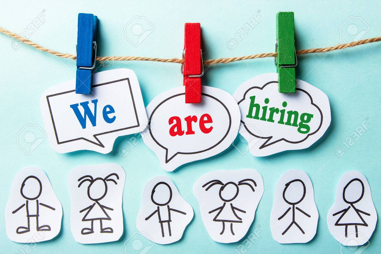 We are hiring paper speech bubbles with some paper people - 44378160