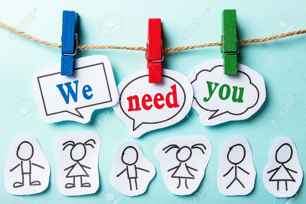 We need you paper speech bubbles with paper people - 44379441