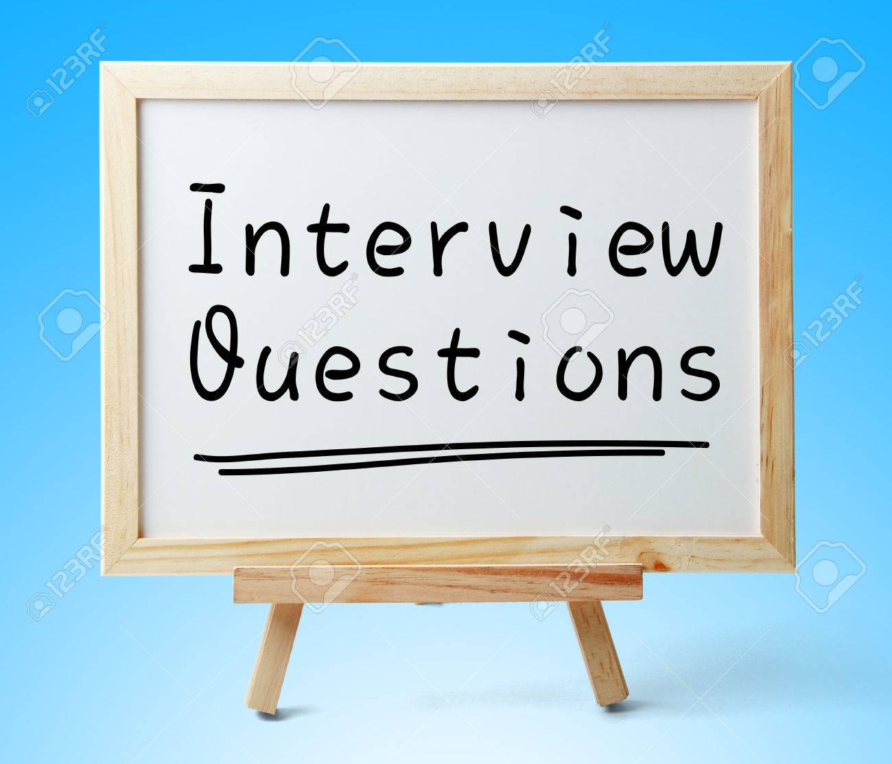 whiteboard text interview questions is on the blue background stock photo whiteboard text interview questions is on the blue background