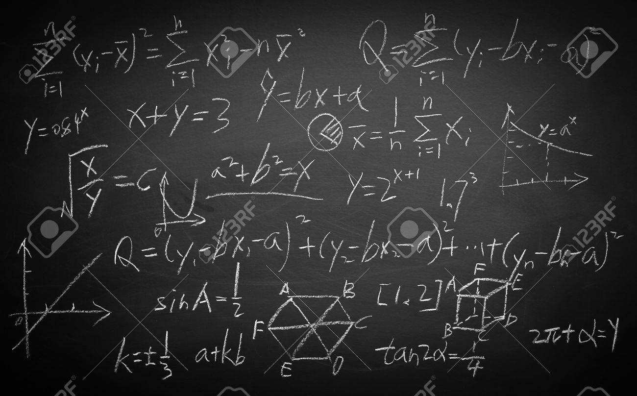 Maths formulas written by white chalk on the blackboard background. - 45241736