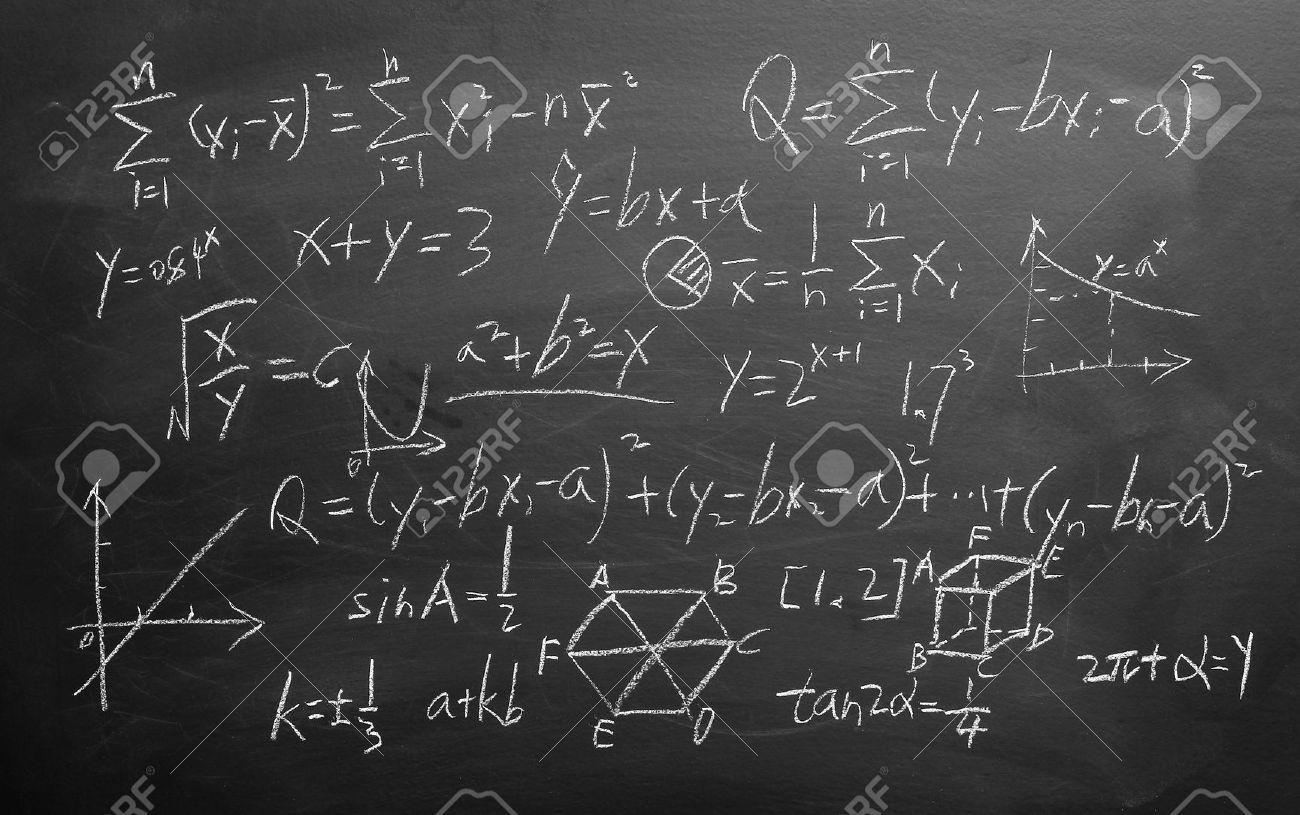maths formulas written by white chalk on the blackboard background