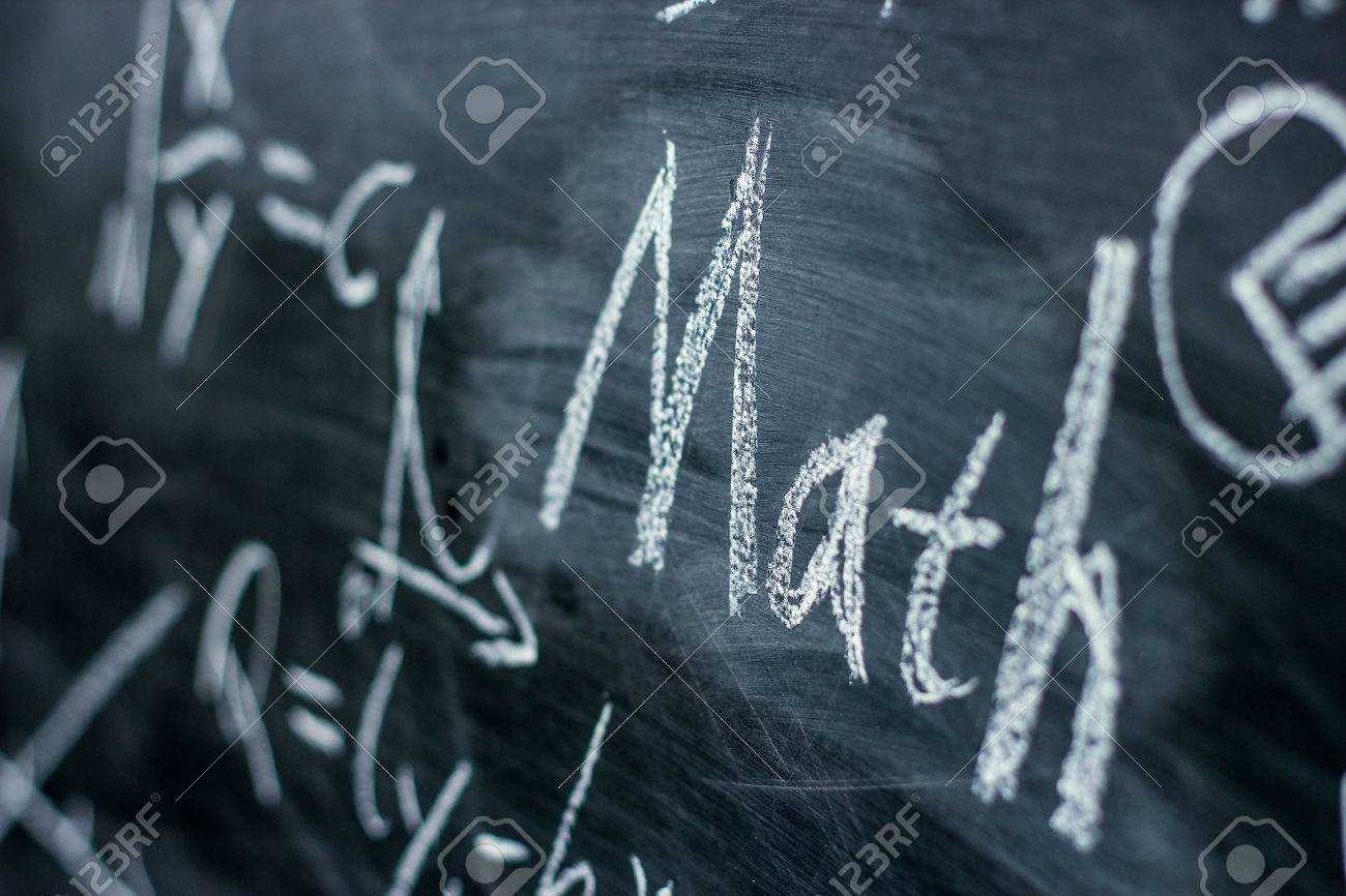 Math text with some maths formulas on chalkboard background. - 45241903