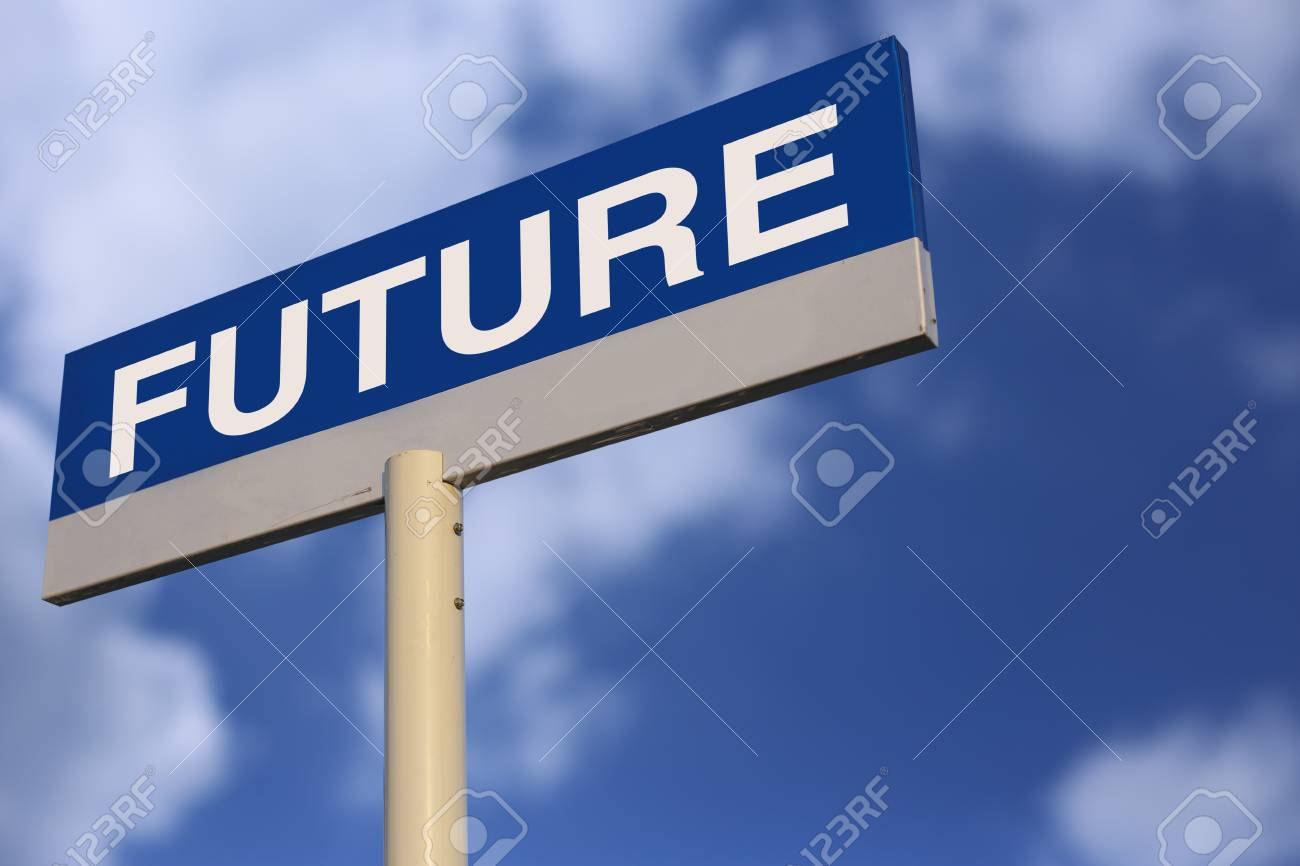 Future Road Sign with cloudy blue sky background. - 46602388