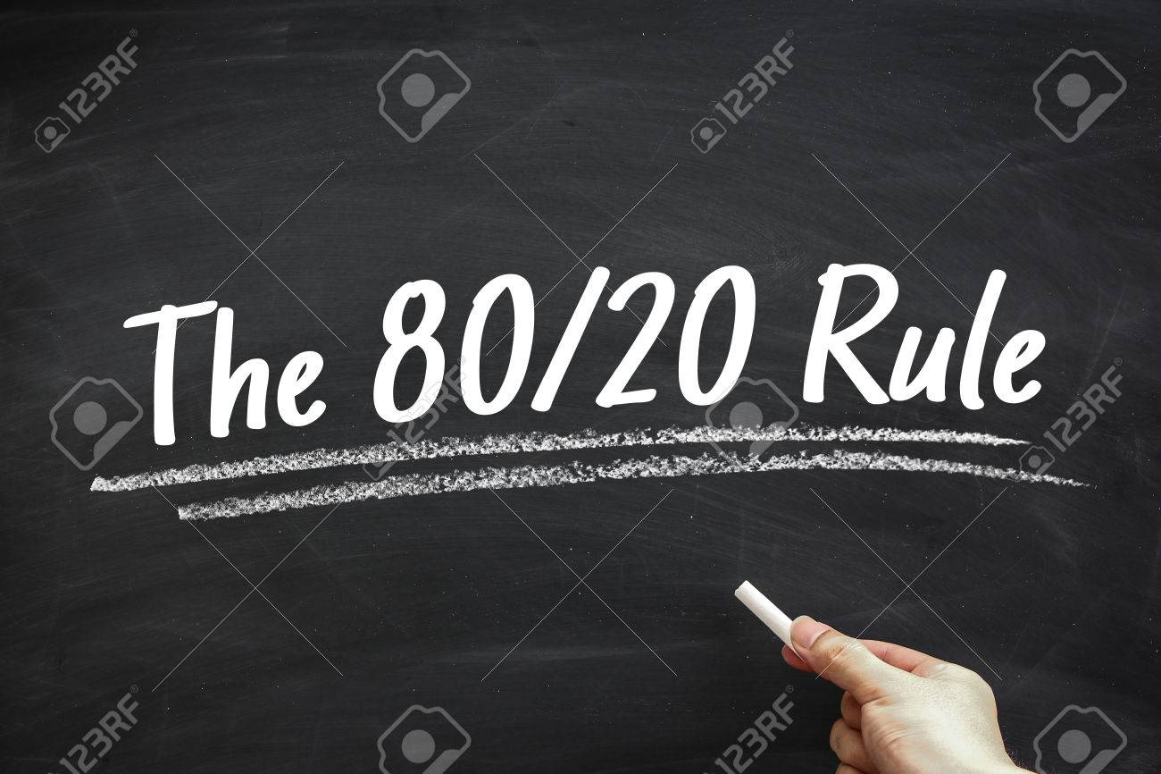Text The 80 20 Rule written on the blackboard with hand holding white chalk aside. - 55150865